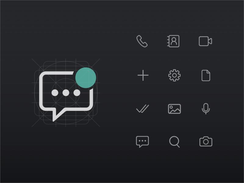 icon set_ messenger app iconography design ui mobile dark mode messenger iconset icon app