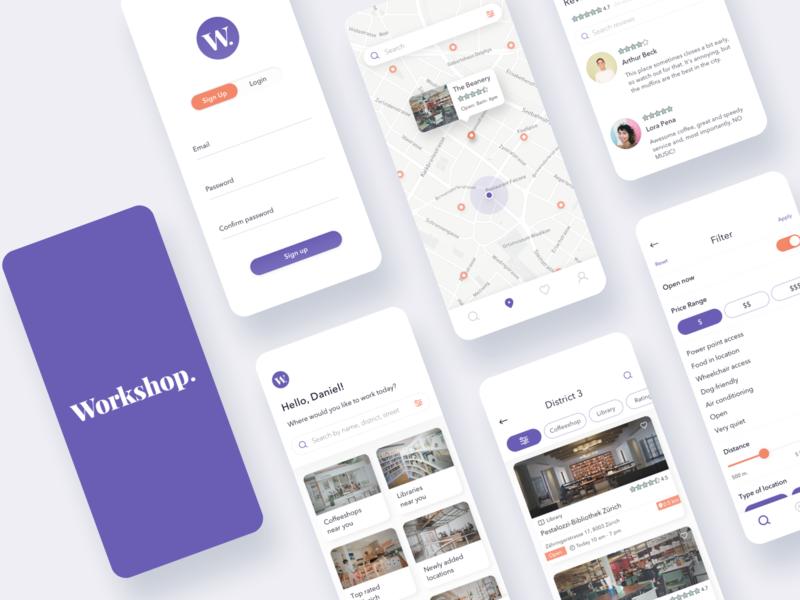 Workshop _ Workspace Finder remote work desing mobile app zurich cowork ui location based