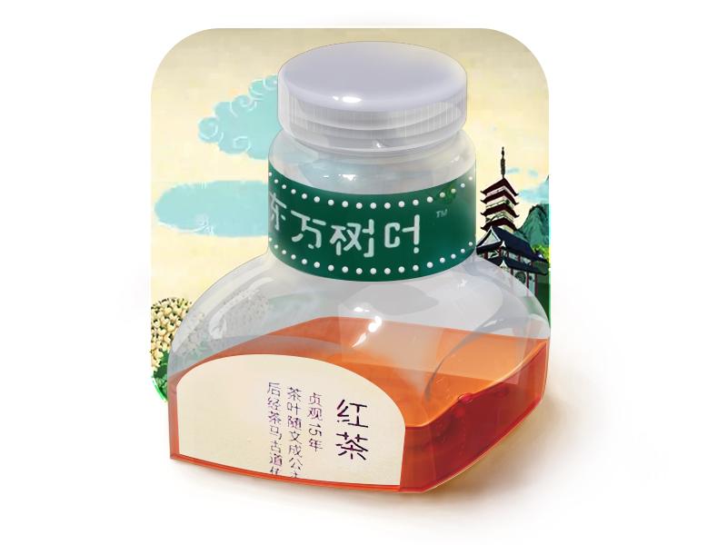 Oriental Leaves chinese icon black tea oriental leaves plastic bottle illustration