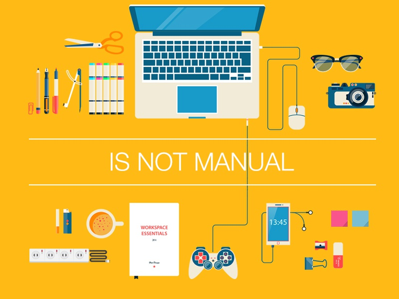 Is Not Manual flat illustration design work yellow