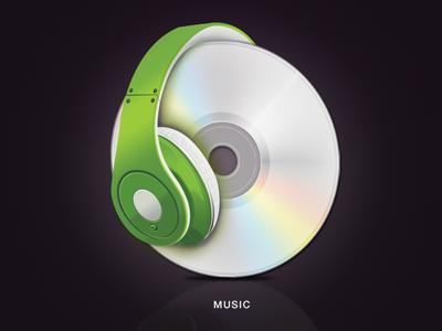 Music music icon cd headphone design green