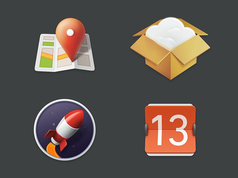 Icon's Story colour illustration icon calendar rocket shop map