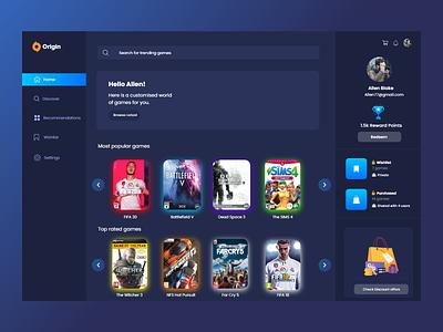 Origin launcher webapp animation dark ui app ux ui design
