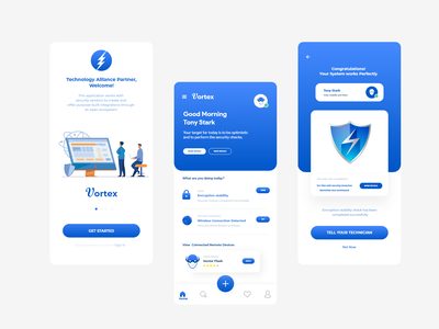Vortex security app illustration branding mockup app design ux ui