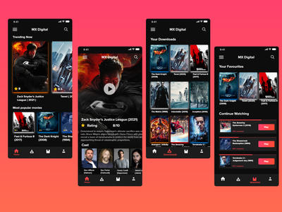 MX Digital - Movie Player app vector branding mockup app ux ui design