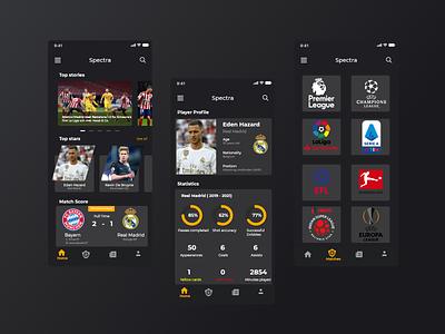 Spectra Football App football darkui vector branding mockup app ux ui design
