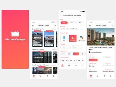 Marvel Real Estate App vector branding mockup app ux ui design