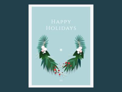 Holidays Card Blue