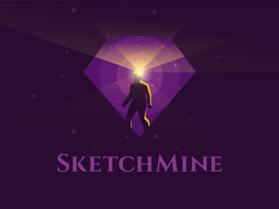 Sketchmine logo sketch banner logo illustration