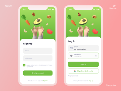 Daily UI 001 - Sign up ios app design ios app ios coral pink avocado dailyuichallenge daily ui dailyui log in sign in sign up