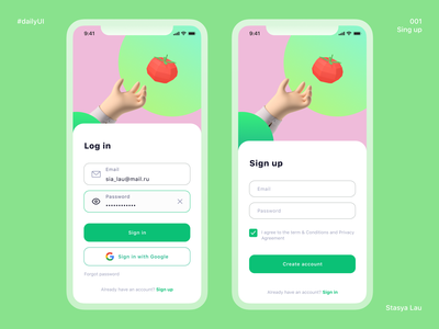 Daily UI 001 - Sign up ios app design ios app app design app parakeet color tomato log in sign in sign up