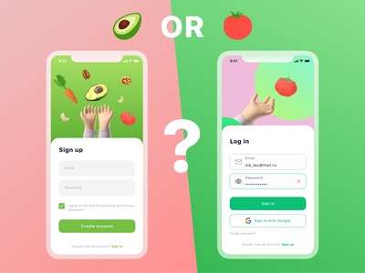 Tomato vs avocado avocado tomato ios app ios app design ios app app design 001 daily ui vs