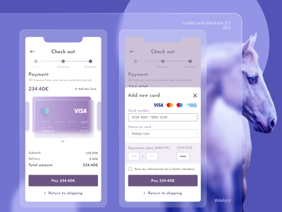 Daily UI - 002 Credit card checkout 2/2 royal purple horse pay checkout credit card checkout 002 daily ui 002 dailyuichallenge daily ui dailyui daily