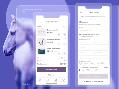 Daily UI - 002 Credit card checkout 1/2 fields forms shipping horse products cart checkout check out royal purple 002 daily ui 002 dailyuichallenge daily ui dailyui