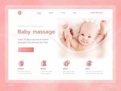 Daily UI 003 - Landing page babypink baby baby massage massage 003 daily ui 003 dailyuichallenge daily ui dailyui landing page landing
