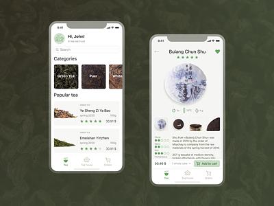 Tea online store designsystem ux uidesign ui cards puer products mobile app online store online shop tea