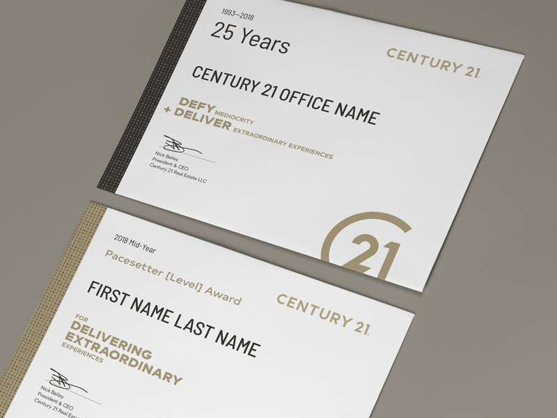 Century 21 Award Certificate Templates By Paul Shryock Dribbble