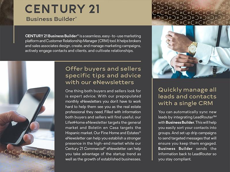 Century 21 Business Builder Flyer real estate print email newsletter flyer crm century 21 business builder business builder broker agent