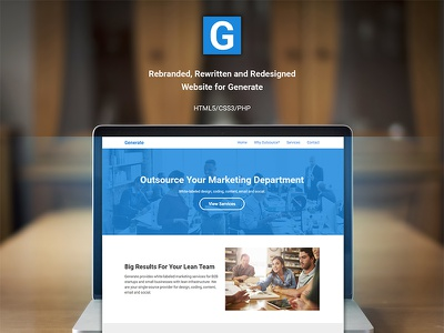 Generate Website 2016 Rebrand, Design, Development generate identity rebrand web development front end development web design website php css html