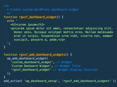 Custom WordPress Dashboard Widget function