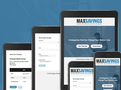 Max Savings RGX Booth Mobile App eleventy webpack node mobile tablet json api javascript css html progressive web app mobile app booth conference real estate