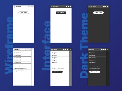 Wireframe, interface, and dark theme mobile indesign app ui