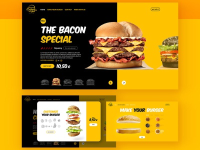 Landing Page - UI Burger media marketing app custom landing page food delivery ux design ui burger