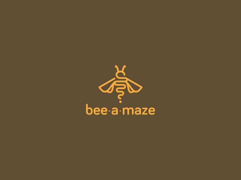 Bee-a-maze bee logo design fly honey yellow freebie free logo