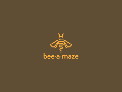 Bee-a-maze bee logo design fly honey yellow freebie free logo