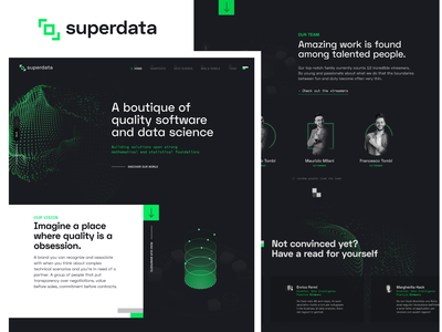 Homepage for a software boutique green black data ux graphic design user interface design ui