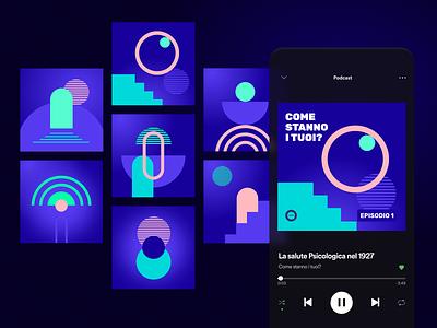 Podcast Cover basic shapes cover podcast shape vector design illustration branding graphic design