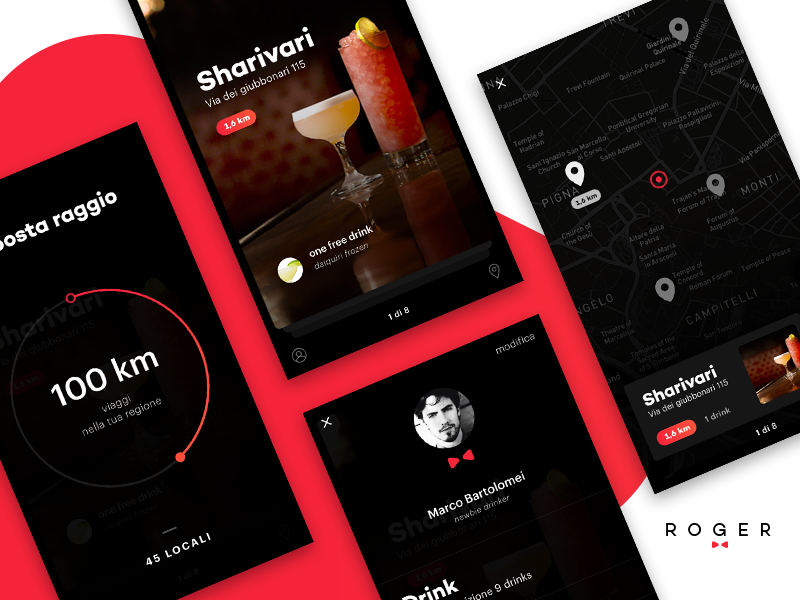 Free drink App interface gradient butler graphic card design mobile ux ui