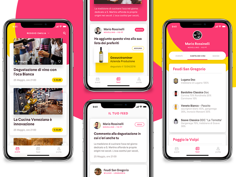 Events app, Mobile ui cards graphic visual wine events colors iphone x ux ui app mobile