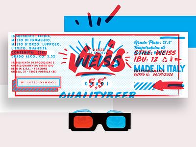 New Beer Label red and blue beerlabel beer label design calligraphy lettering beer labeldesign