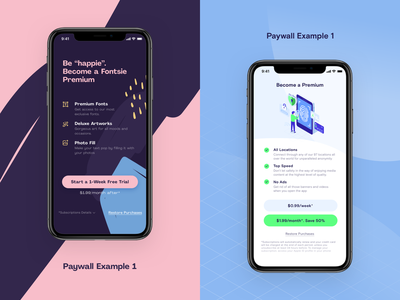 Paywall Example pastel color premium iphone mobile design mobile app mobile ui paywall