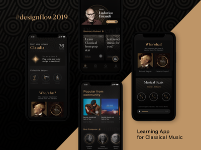 Classical Music App, for Designflows Contest designflows contest classical music pattern mobile graphic design mobile ui user interface ui app design app