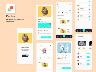 Pet Adoption App - Cattus pet shop logo petstore pet app pet shop pets animal illustration uidesign ux ui pet adopt pet adoption pet care pet store animals animal food animal petshop pet minimalist chres