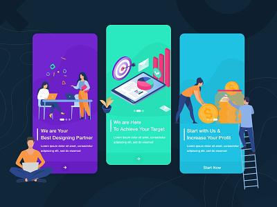 Onboarding UI/UX Design typography app ux ui illustration vector mobile app design ux design ui design