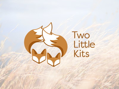Two Little Kits logo two little kits brown monochrome foxes logo