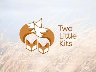 Two Little Kits logo two little kits brown monochrome foxes logo