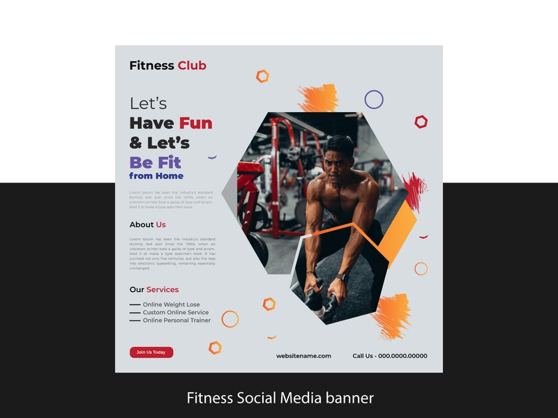 Fitness Social Media Banner Instagram post Facebook Post design healthy health gym fitness social media post design template media banner social media banner post ad graphic design template design banner social media