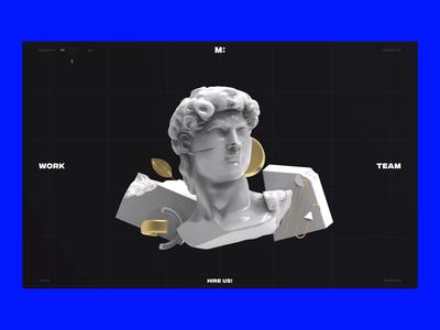 MCW Web Design Agency landing page web design debut off on creative art loop render sculpture david 3d effect glitch website animation design illustration ui ux branding