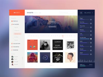 Museo™ - Desktop App v1 flat ui app user interface profile library dashboard minimalist nav music webdesign
