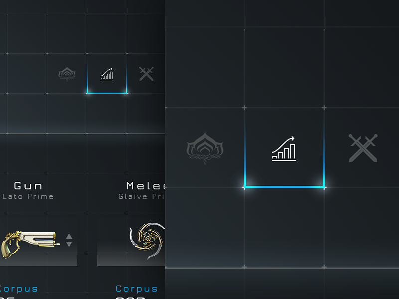Warframe™ - Main Menu & Progress Bar user interface ui clean profile dashboard flat navigation menu video game warframe game