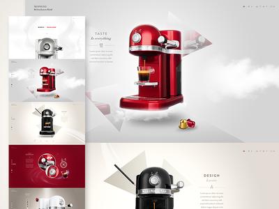 Nespresso by Kitchenaid - Website ui clean nespresso kitchenaid webdesign flat icons navigation menu minimal one page