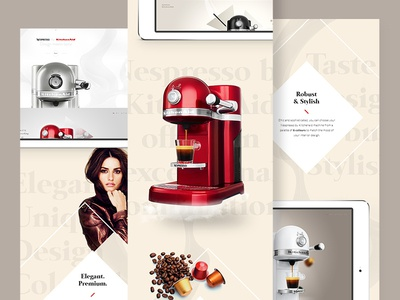Nespresso by Kitchenaid - Case Study flat ui ux clean minimal webdesign nespresso kitchenaid one page case study navigation interface