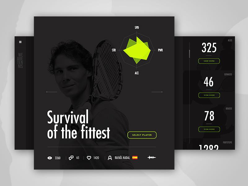 We Are Tennis - Player interface navigation stat webdesign tennis minimal clean sport black ux ui flat