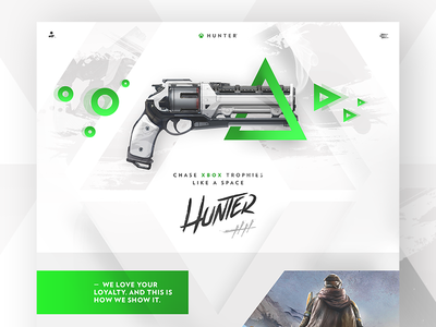 X(box) Hunter - Preview 🎮 webdesign green home flat ux ui onepage interface game xbox clean minimal