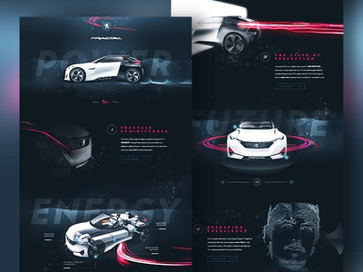 Peugeot™ Fractal - Tribute Website minimal clean car peugeot interface onepage ui ux flat home webdesign design