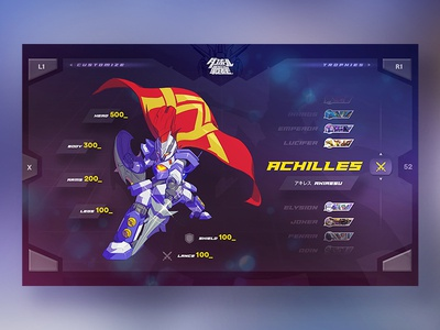 LBX - Character Selection minimal clean game menu interface psvita ui ux flat japan webdesign design